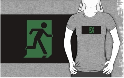 Running Man Exit Sign Adult T-Shirt 85