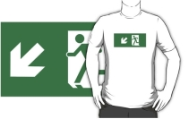 Running Man Exit Sign Adult T-Shirt 86