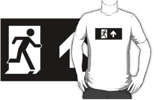 Running Man Exit Sign Adult T-Shirt 90