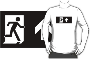 Running Man Exit Sign Adult T-Shirt 90