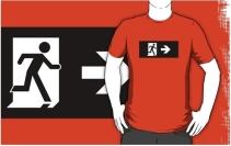 Running Man Exit Sign Adult T-Shirt 91