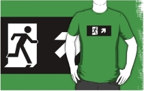 Running Man Exit Sign Adult T-Shirt 92