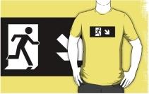 Running Man Exit Sign Adult T-Shirt 93