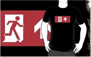 Running Man Exit Sign Adult T-Shirt 95