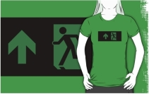 Running Man Exit Sign Adult T-Shirt 96