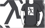 Running Man Exit Sign Adult T-Shirt 97