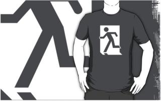 Running Man Exit Sign Adult T-Shirt 97