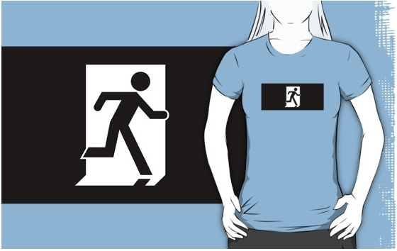 Running Man Exit Sign Adult T-Shirt 98 – Disability Access Consultants