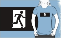 Running Man Exit Sign Adult T-Shirt 98