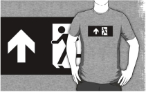 Running Man Exit Sign Adult T-Shirt 99