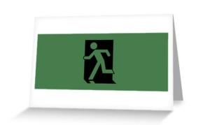 Running Man Exit Sign Greeting Card 1