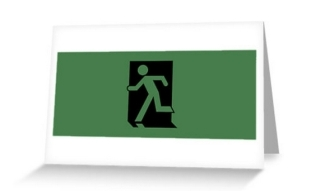 Running Man Exit Sign Greeting Card 1