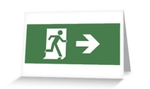 Running Man Exit Sign Greeting Card 10