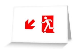 Running Man Exit Sign Greeting Card 100