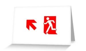 Running Man Exit Sign Greeting Card 101
