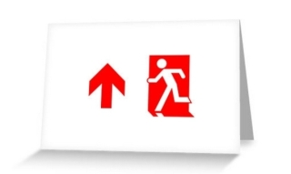 Running Man Exit Sign Greeting Card 103
