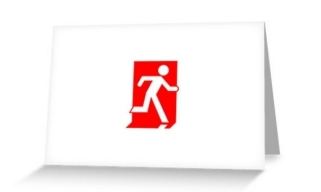 Running Man Exit Sign Greeting Card 104