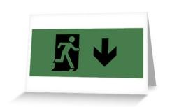 Running Man Exit Sign Greeting Card 105