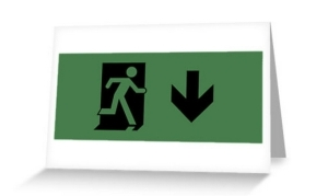 Running Man Exit Sign Greeting Card 105