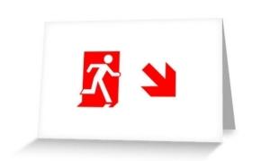 Running Man Exit Sign Greeting Card 107
