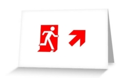 Running Man Exit Sign Greeting Card 108
