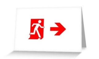 Running Man Exit Sign Greeting Card 109