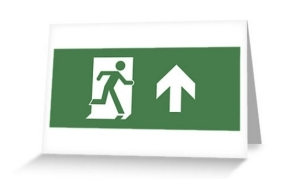 Running Man Exit Sign Greeting Card 11