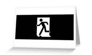 Running Man Exit Sign Greeting Card 111