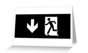 Running Man Exit Sign Greeting Card 112