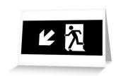 Running Man Exit Sign Greeting Card 113