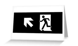 Running Man Exit Sign Greeting Card 114