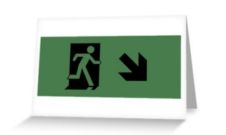Running Man Exit Sign Greeting Card 116