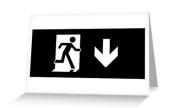 Running Man Exit Sign Greeting Card 119