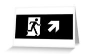 Running Man Exit Sign Greeting Card 121