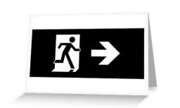 Running Man Exit Sign Greeting Card 122