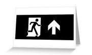 Running Man Exit Sign Greeting Card 123