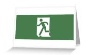 Running Man Exit Sign Greeting Card 124