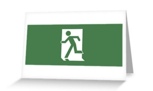 Running Man Exit Sign Greeting Card 124