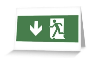 Running Man Exit Sign Greeting Card 125