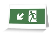 Running Man Exit Sign Greeting Card 126