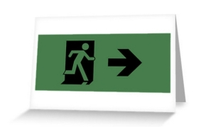 Running Man Exit Sign Greeting Card 13