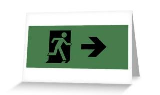Running Man Exit Sign Greeting Card 13