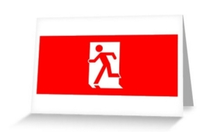 Running Man Exit Sign Greeting Card 14