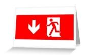 Running Man Exit Sign Greeting Card 15