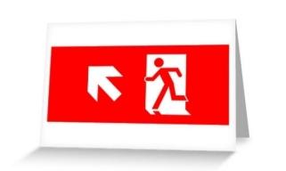 Running Man Exit Sign Greeting Card 17