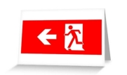 Running Man Exit Sign Greeting Card 18