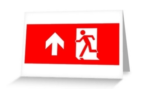 Running Man Exit Sign Greeting Card 19