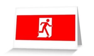 Running Man Exit Sign Greeting Card 20