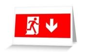 Running Man Exit Sign Greeting Card 21