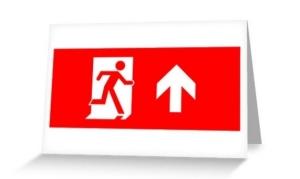 Running Man Exit Sign Greeting Card 22